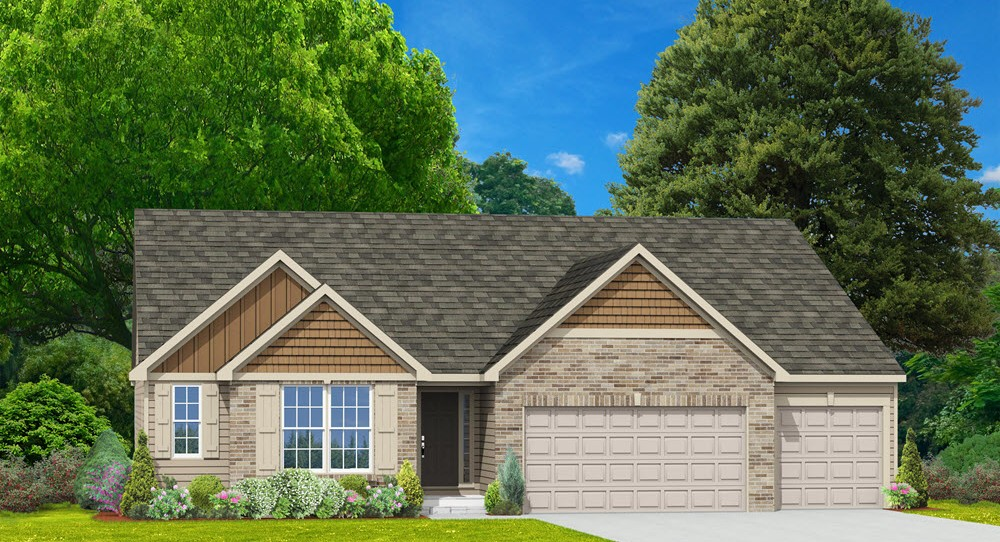 New homes st charles mo canterbury ranch house 3 car for 3 car garage homes