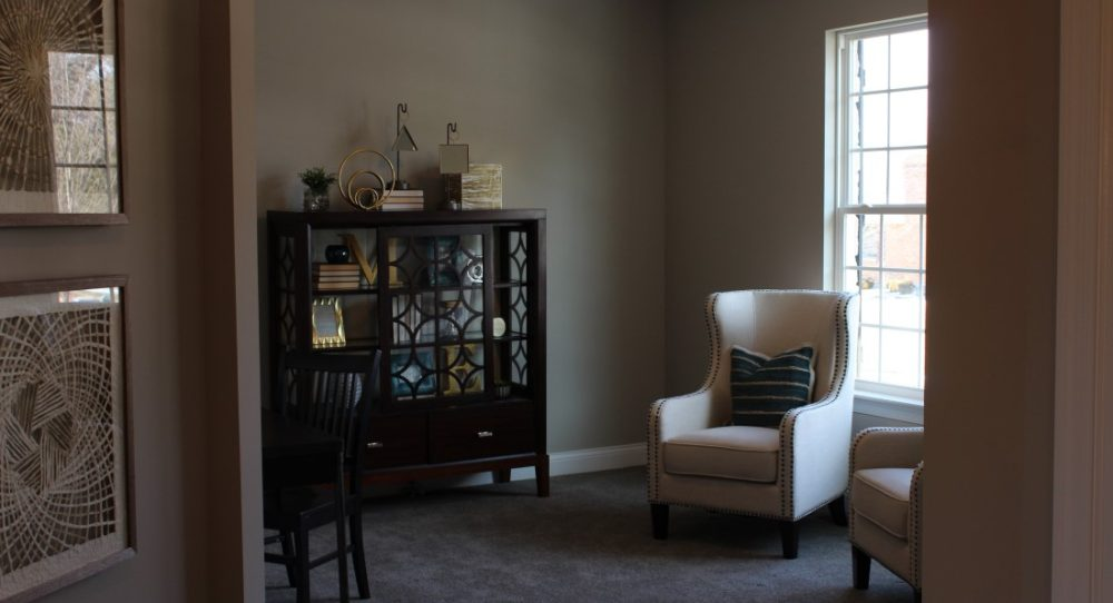 Near the entry, the Study can serve as an office, library, or private retreat